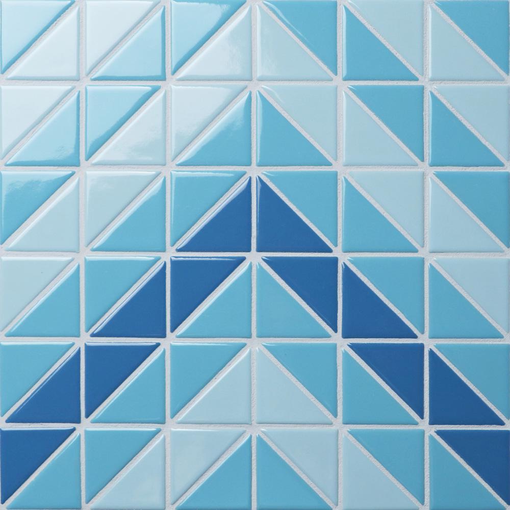Tre Chevron Santorini Mix 10-3/4 in. x 10-3/4 in. x 6mm Porcelain Mosaic Tile