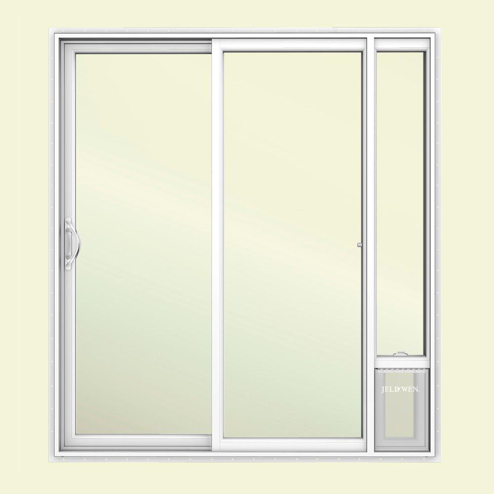 72 in. x 80 in. V2500 White Vinyl Prehung Left Hand 1 Lite Sliding Patio Door with Medium Pet Door