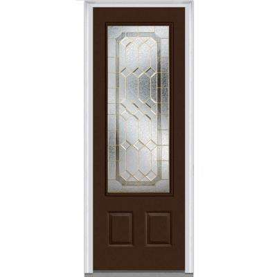 36 in. x 96 in. Majestic Elegance Right-Hand Inswing 3/4-Lite Decorative Painted Fiberglass Smooth Prehung Front Door