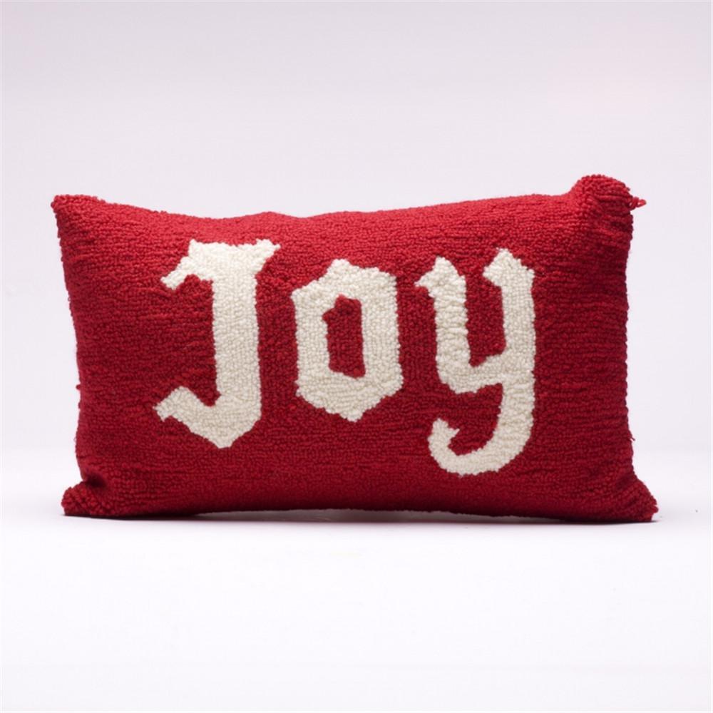 10.96 in. H Monogram Hooked Pillow, Joy