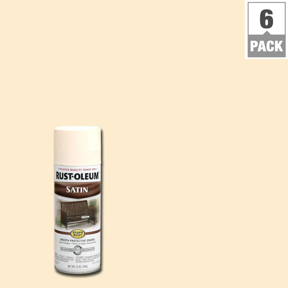12 oz. Protective Enamel Satin Shell White Spray Paint (6-Pack)
