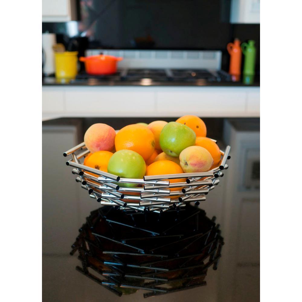Visol Girard Large Stainless Steel Decorative Fruit Bowl