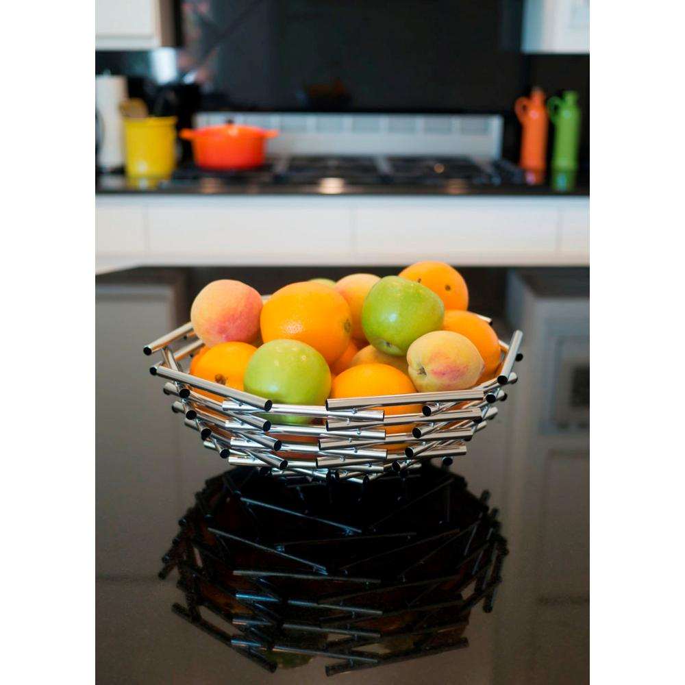 Visol Girard Large Stainless Steel Decorative Fruit Bowl