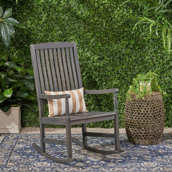 Arcadia Dark Grey Wood Outdoor Rocking Chair (2-Pack)