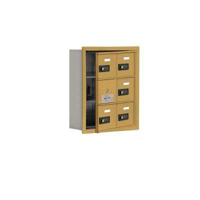 19100 Series 16.25 in. W x 18.75 in. H x 5.75 in. D 5 Doors Cell Phone Locker R-Mount Resettable Locks in Gold