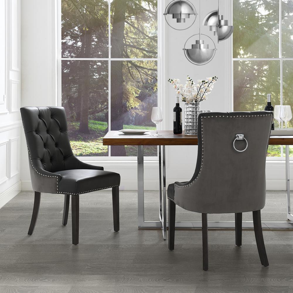 Inspired Home Autumn Dark Grey/Chrome PU Leather Nailhead Armless Dining Chair