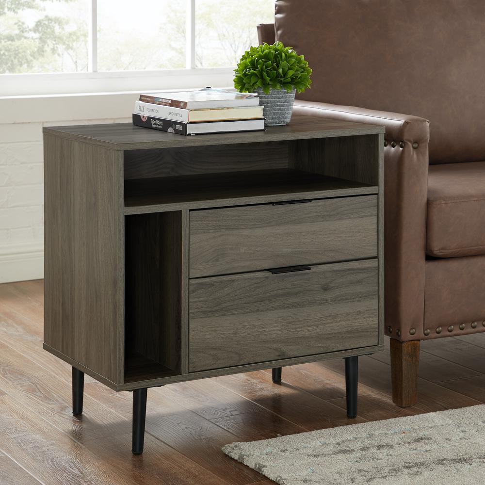 Modern 2-Drawer and Shelf Slate Grey Nightstand