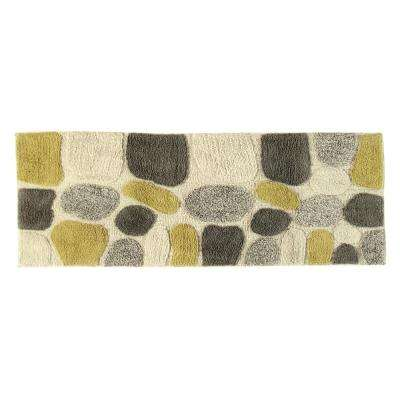 24 in. x 60 in. Pebbles Bath Rug Runner in New Willow