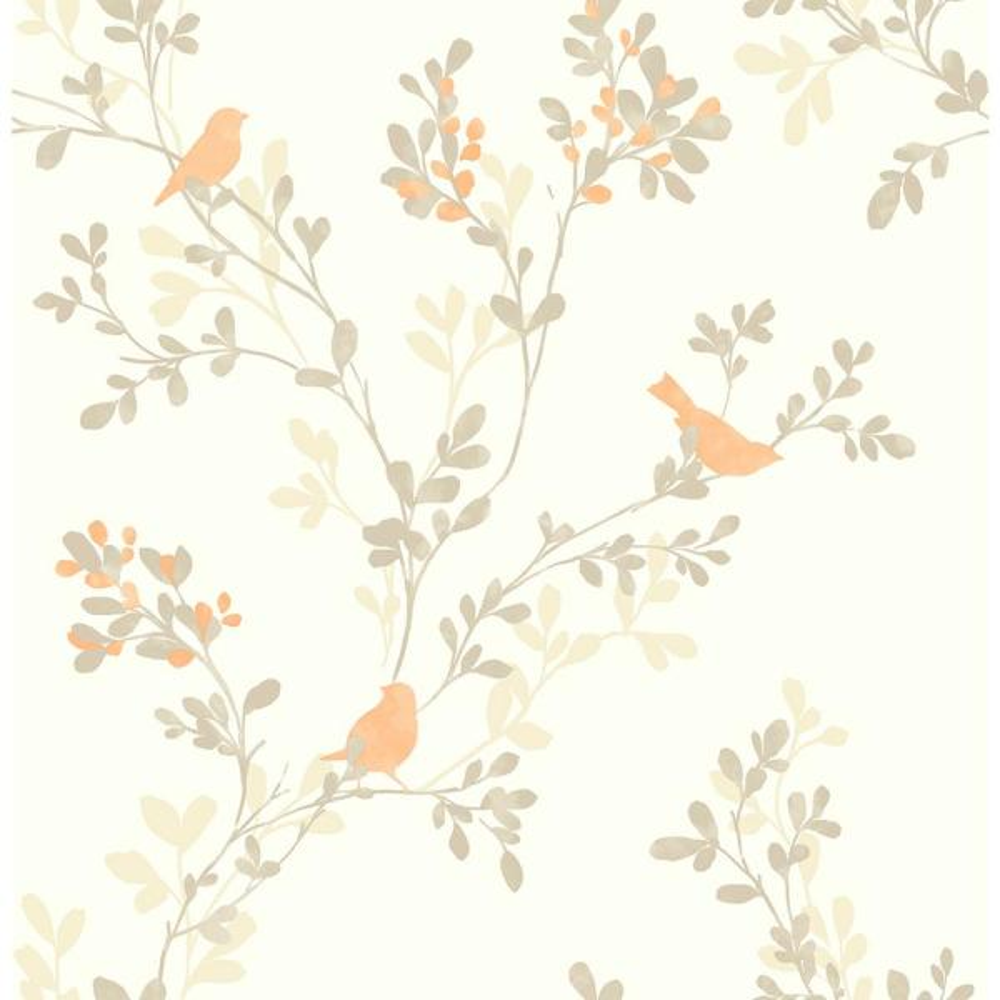 Strange Chirp Orange Birds And Trees Wallpaper Interior Design Ideas Skatsoteloinfo