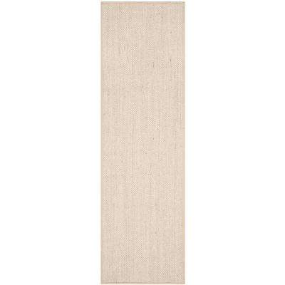 Natural Fiber Marble/Linen 3 ft. x 10 ft. Runner Rug