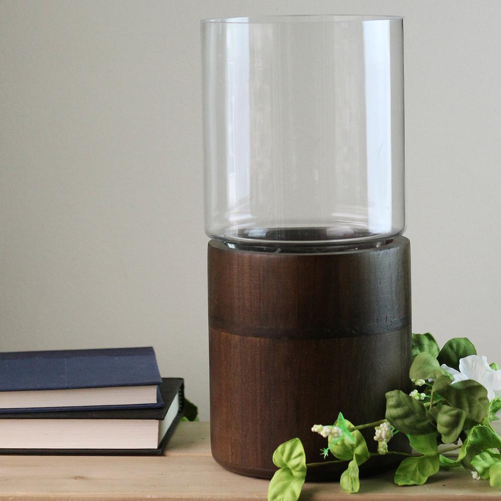 12 in. Glass Hurricane Pillar Candle Holder