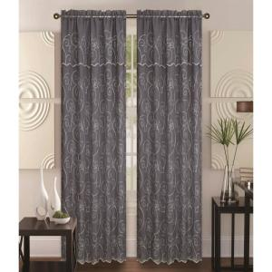 Kashi Home Selma 55 inch x 84 inch Curtain Panel in Grey/Cream by Kashi Home