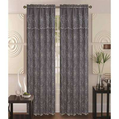 Selma 55 in. x 84 in. Curtain Panel in Grey/Cream
