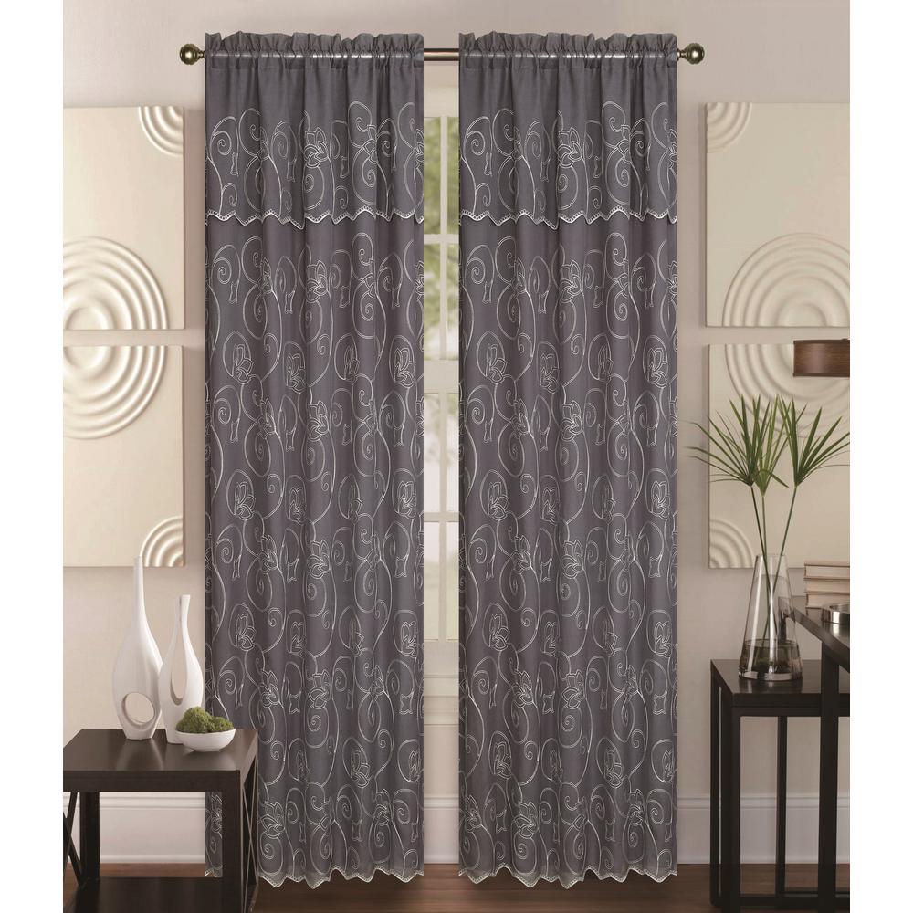 Kashi Home Selma 55 in  x 84 in  Curtain Panel in Grey/Cream