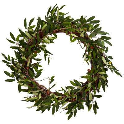 20.0 in. H Green Olive Wreath