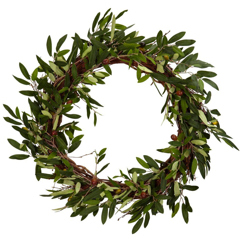 Nearly Natural 20.0 in. H Green Olive Wreath
