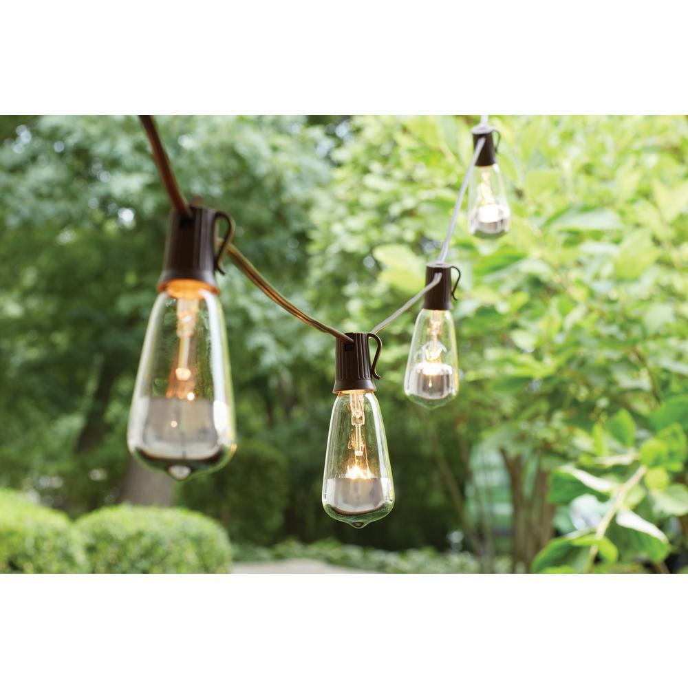 Hampton Bay 10-Incandescent Light Outdoor Dipped Edison Bulb String Light