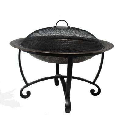 Riverside 29-in x 20.8-in Round Heavy-Gauge Steel Wood Burning Fire Pit Set in Black with Spark Screen Dual-Use Lid