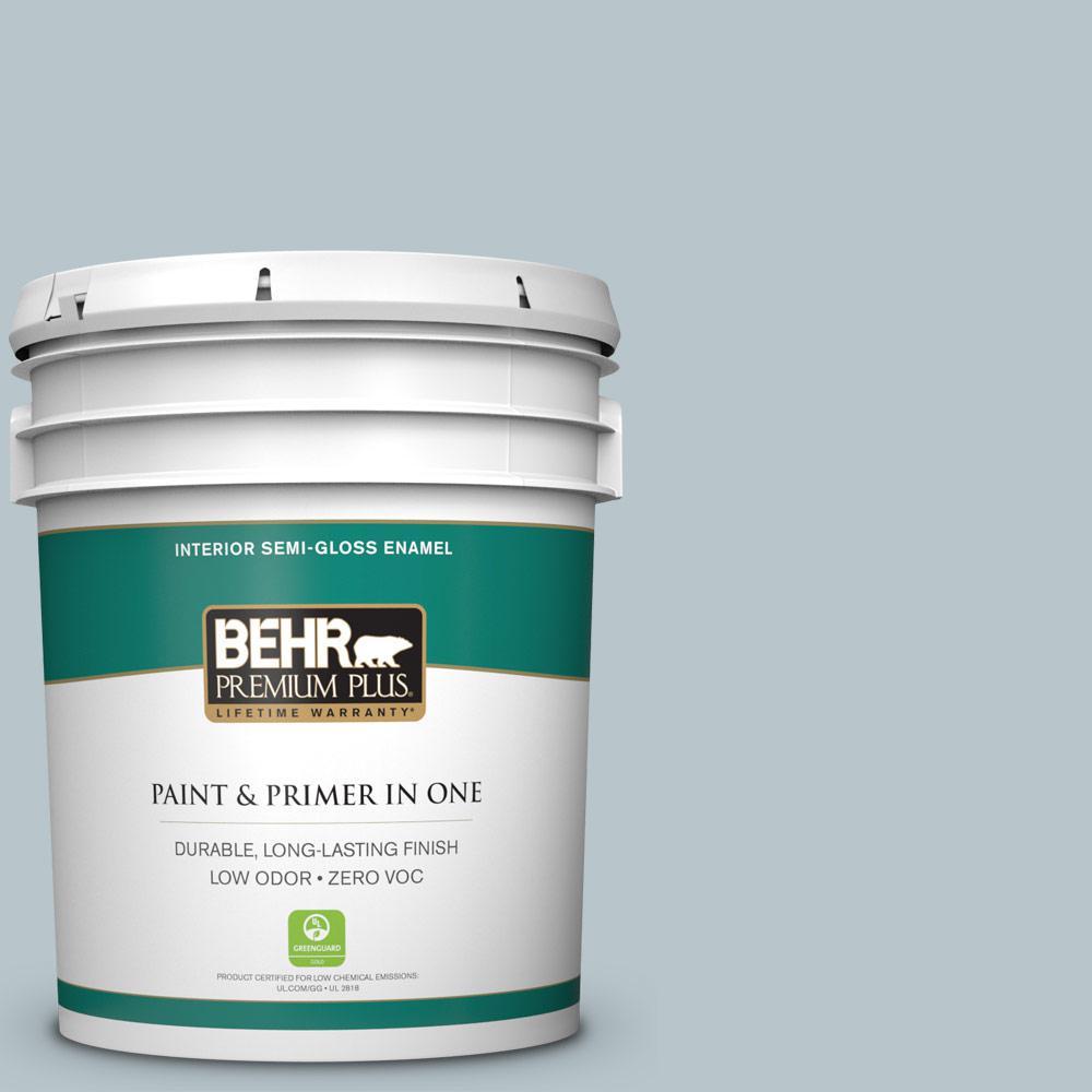 BEHR Premium Plus 5-gal. #ICC-46 Soft Denim Zero VOC Semi-Gloss Enamel Interior Paint