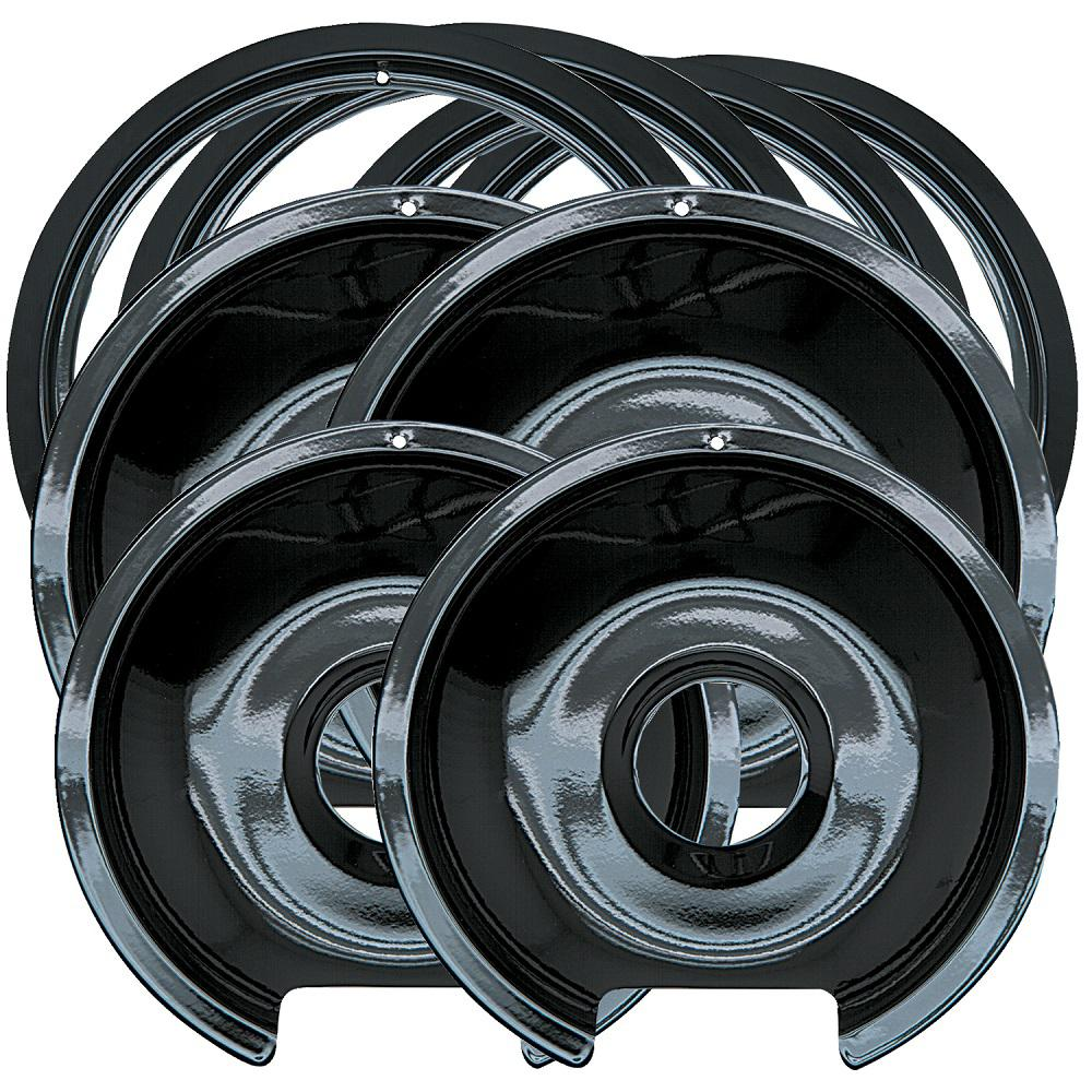 2 Large Drip Pan And Trim Ring In Porcelain 8 Pack