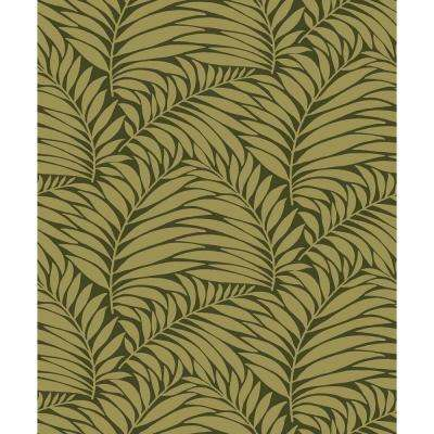 8 in. x 10 in. Myfair Moss Leaf Wallpaper Sample