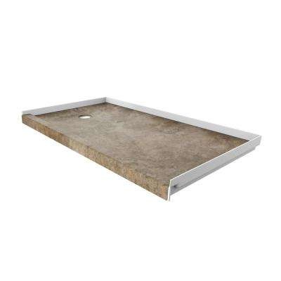 32 in. x 60 in. Single Threshold Shower Base with Left Hand Drain in Mocha Travertine