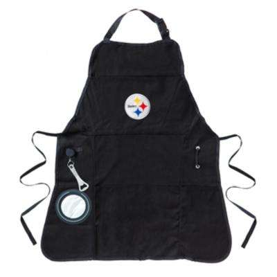Pittsburgh Steelers NFL 24 in. x 31 in. Cotton Canvas 5-Pocket Grilling Apron with Bottle Holder