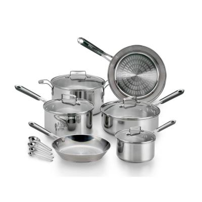 Performa Pro 14-Piece Stainless Steel Cookware Set with Glass Lids