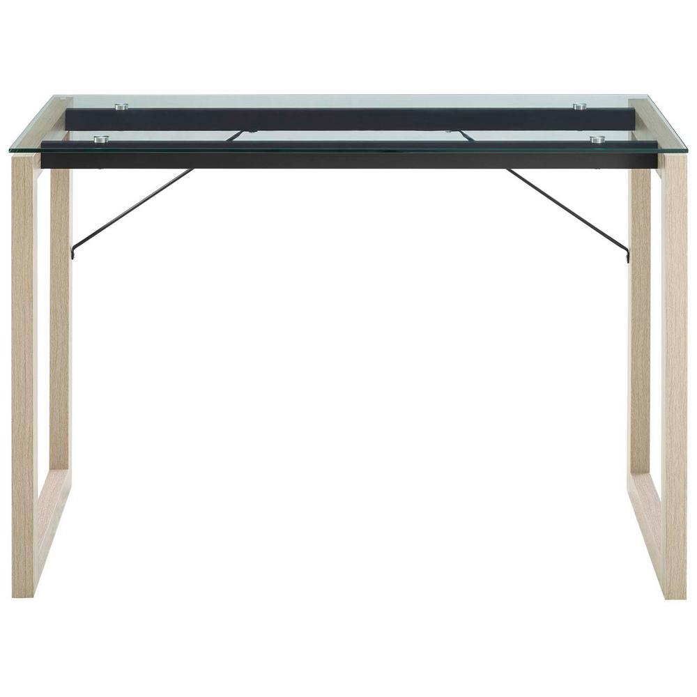 MODWAY Medley Natural Clear Glass Top Writing Desk EEI-2783-NAT-CLR