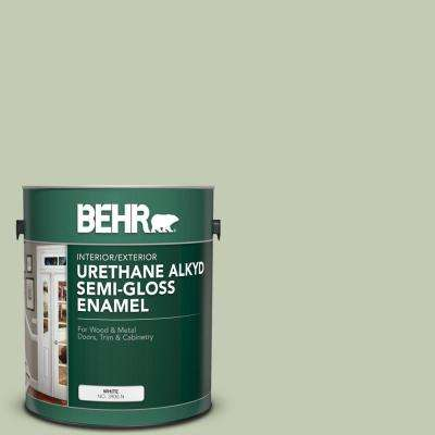 Behr 1 Gal 420e 3 Spring Hill Urethane Alkyd Semi Gloss Enamel Interior Exterior Paint 390001 The Home Depot