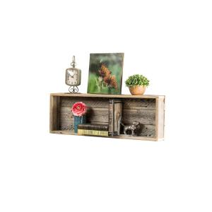 Long Shadowbox 4in X 30in 10 5in Natural Reclaimed Wood Decorative Cubby Wall Shelf