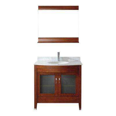 Alba 36 in. Vanity in Classic Cherry with Marble Vanity Top in Classic Cherry and Mirror