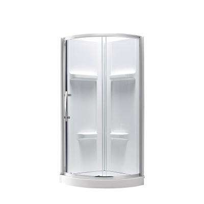 40.20 in. x 79.50 in. 2-piece Direct-to-Stud Corner Shower Wall Set in White