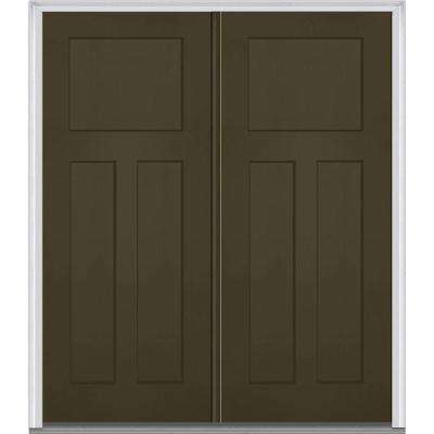 72 in. x 80 in. Classic Right-Hand Inswing Craftsman 3-Panel Painted Fiberglass Smooth Prehung Front Door with Brickmold