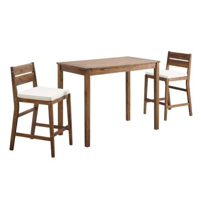 Acacia Dark Brown 3-Piece Wood Rectangle Counter Height Outdoor Dining Set with White Cushions