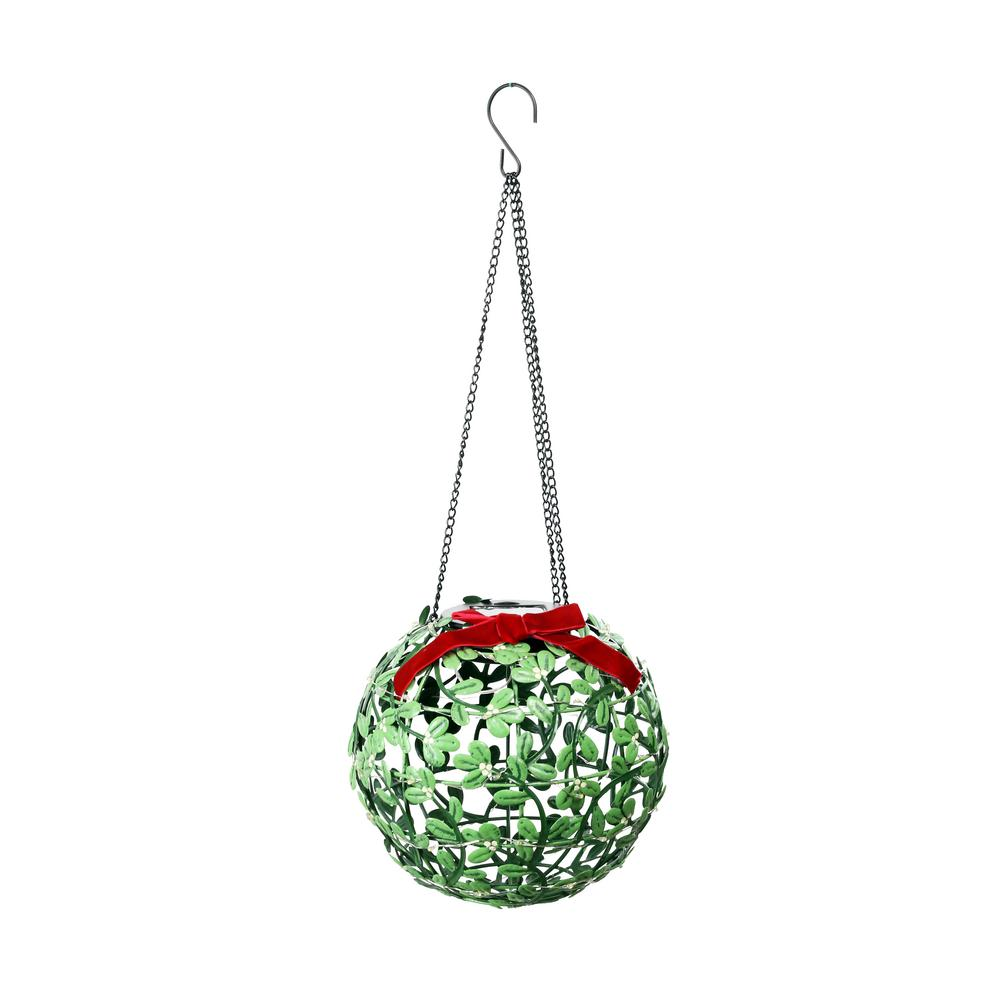 8 in. Tall Solar Christmas Hanging Mistletoe Ornament with Timer