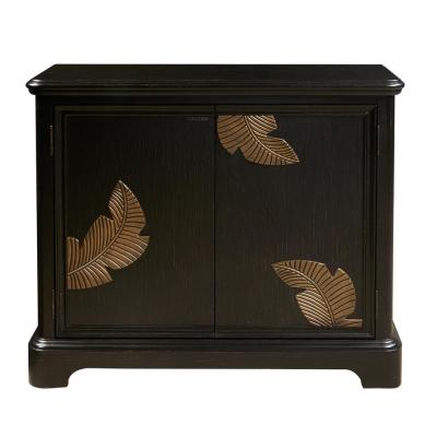 Modern Black Bar Cabinet with a Gold Leaf Carving