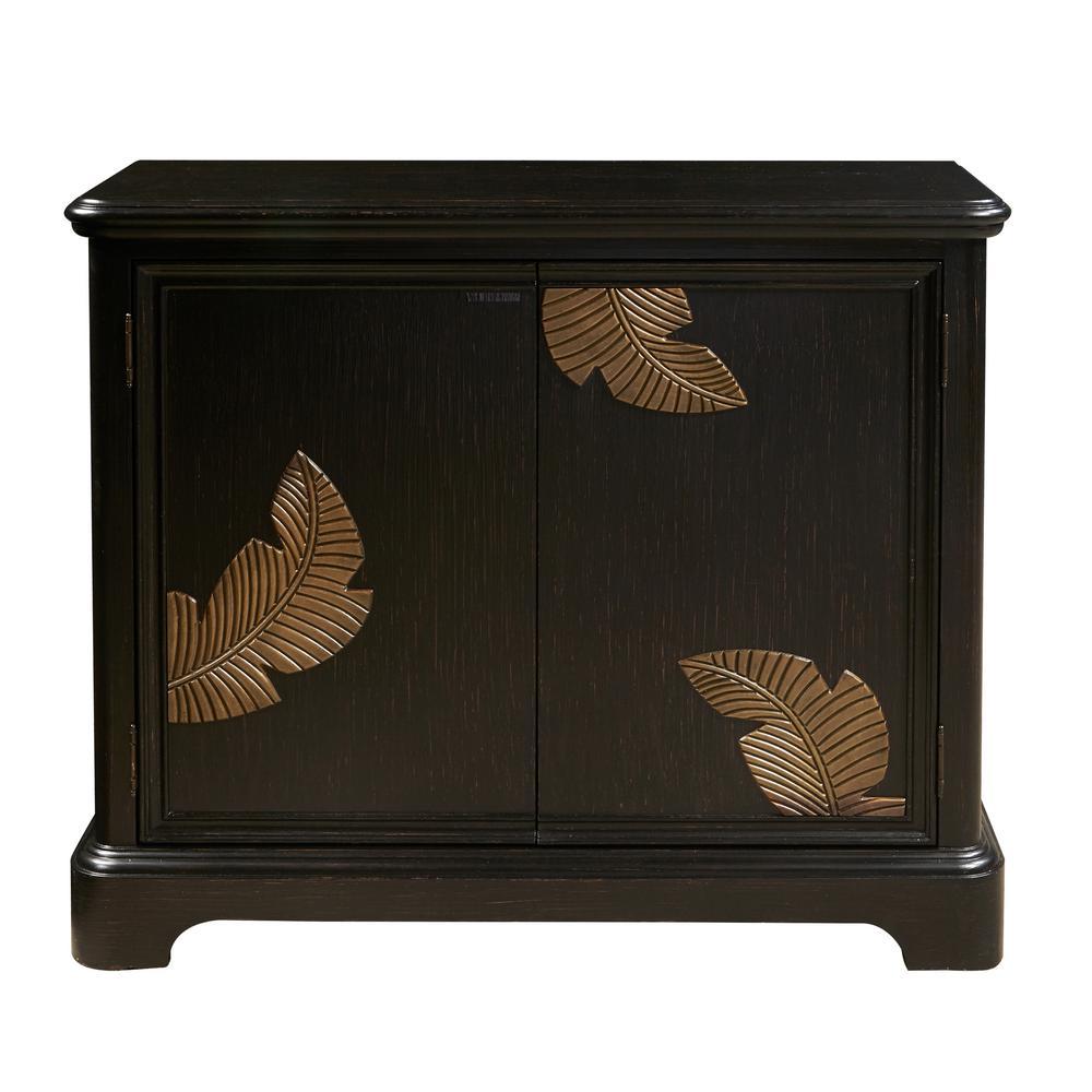 Modern Black Bar Cabinet with a Gold Leaf Carving