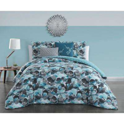 Simone 5-Piece Teal Queen Comforter Set