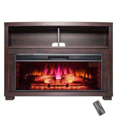 44 in. Freestanding Electric Fireplace Insert Heater in Black with Wooden Mantel and Remote