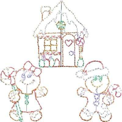 5.5 ft. 862-Light Multi-Color Gingerbread Set Novelty Light (3-Piece)