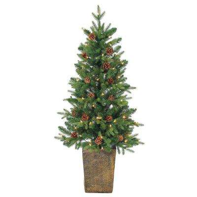 4 ft. Pre-Lit Natural Cut Georgia Pine Artificial Christmas Tree with Clear Lights in Pot