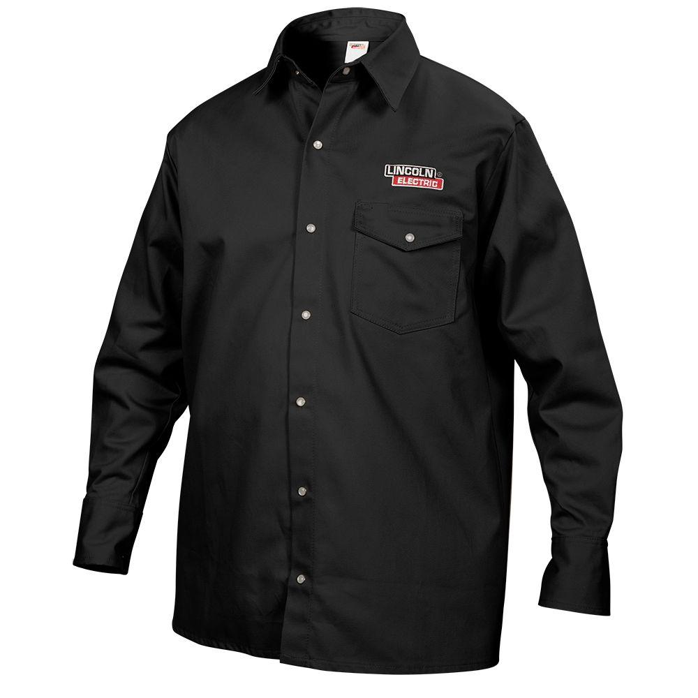 2004404f4c Lincoln Electric Male Large Black Cloth Welding Shirt-KH809L - The Home  Depot