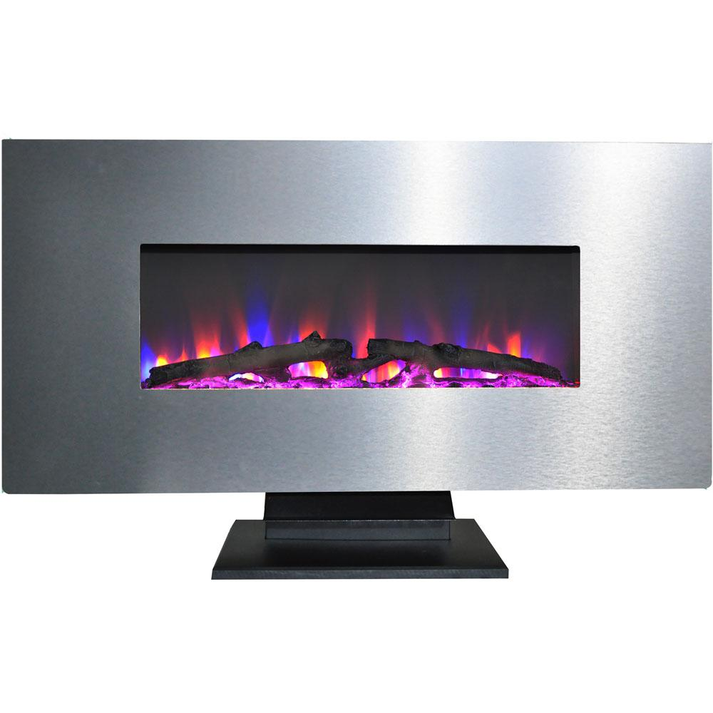 Cambridge 42 in. Metallic Electric Fireplace in Stainless Steel with Multi-Color Log Display