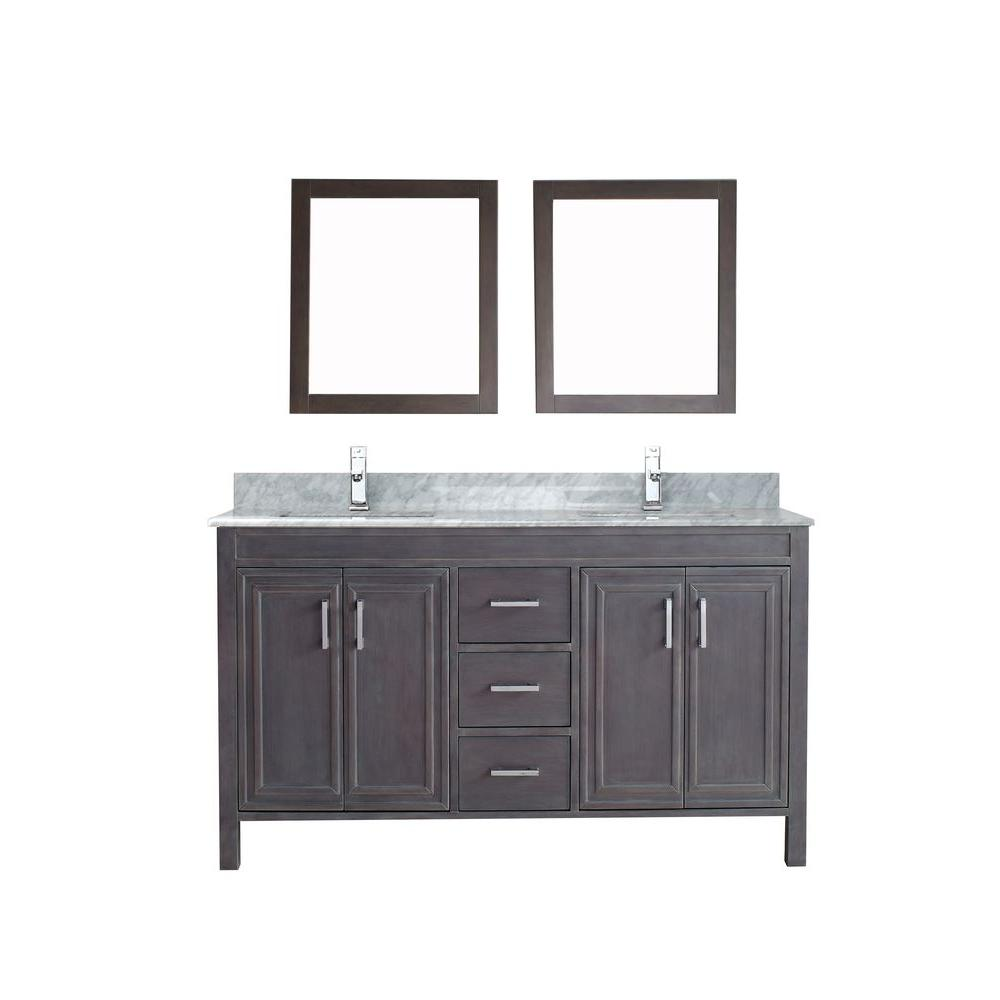 ART BATHE Dawlish 60 in. Vanity in French Gray with Marble Vanity Top in Carrara White and Mirror