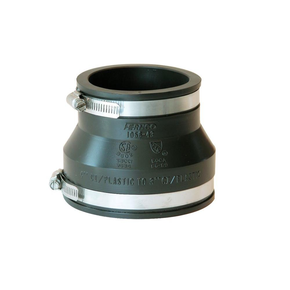 4 in. x 3 in. PVC DWV Mechanical Flexible Coupling