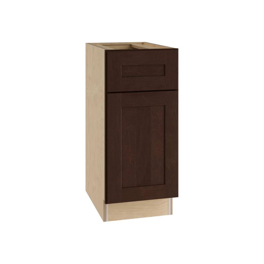 Home Decorators Collection 12x34.5x24 in. Franklin Assembled Base Cabinet with 1 Door Left and 1 Drawer in Manganite Glaze