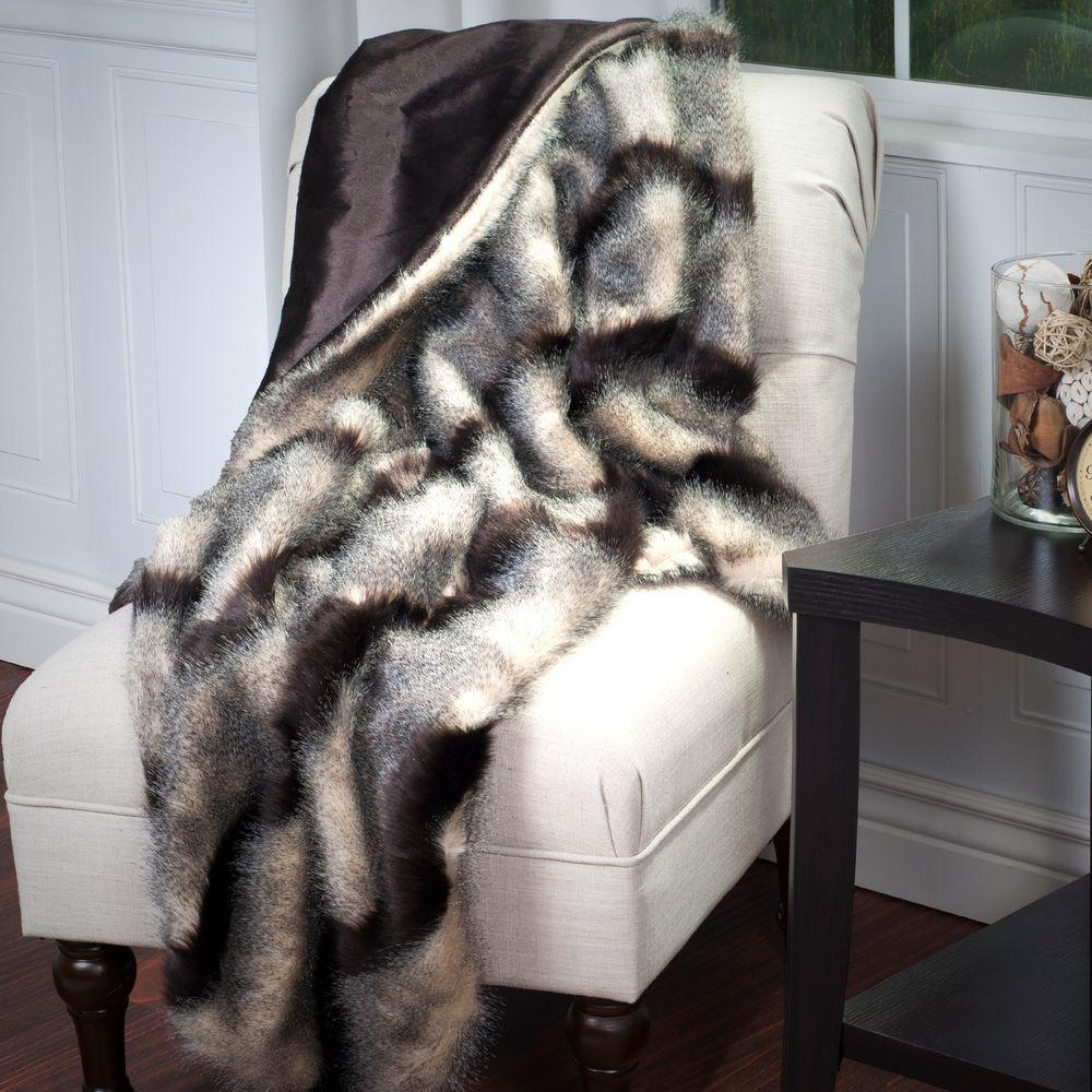 Lavish Home Brown Luxury Long Haired Striped Faux Fur Throw