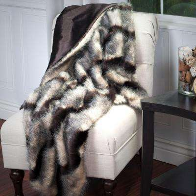 Brown Luxury Long Haired Striped Faux Fur Throw