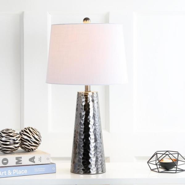 Jonathan Y Wells 26 In H Black Nickel Hammered Metal Table Lamp Jyl3024a The Home Depot